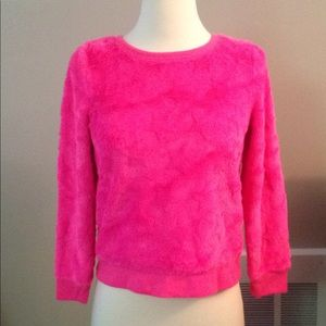 Pink sweater shirt fuzzy with stars